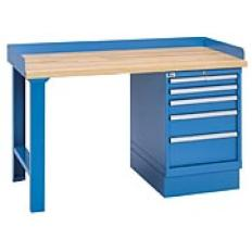 "XSWB20-60BT - Image-1 - 60"" Industrial Workbench with 5-Drawer Cabinet,Butcher Block Top"