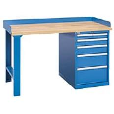 "XSWB40-60BT - Image-1 - 60"" Industrial Workbench with 5-Drawer Cabinet,Butcher Block Top"