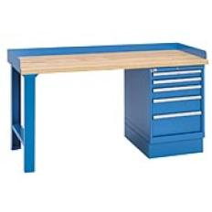 "XSWB22-72BT - Image-1 - 72"" Industrial Workbench with 5-Drawer Cabinet,Butcher Block Top"
