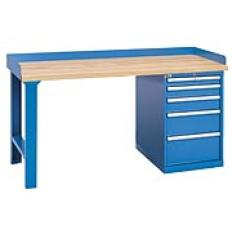 "XSWB42-72BT - Image-1 - 72"" Industrial Workbench with 5-Drawer Cabinet,Butcher Block Top"
