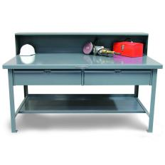 72x36x34 Shop Table,Drawers,Steel Top, Riser