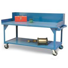 72x36x34 Mobile Shop Table,Risers,Bottom Shelf