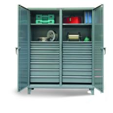 72x24x72 Double Shift Cabinet,14 drawers,2 Locking Doors