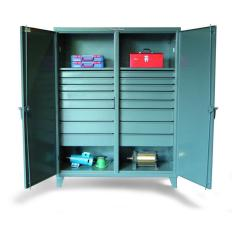72x24x72 Double Shift Cabinet,16 drawers,2 Locking Doors
