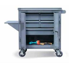 36x24x36 Mobile Cart with 5 Drawers,Doors,Vice Shelf