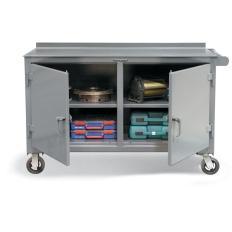 60x30x31 Mobile Work Cart,Shelves,Locking Doors