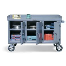 61x31x31 Mobile Work Bench,3 Locking Compartments