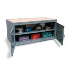 48x36x37 Workbench,Locking Shelf Cabinet,Maple Top