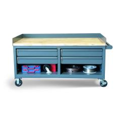 72x36x26 Mobile Workbench,Locking Drawers,Maple Top