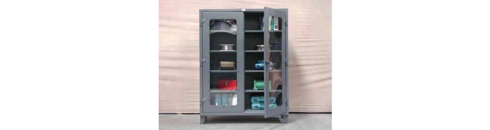 Stronghold Clearview Storage Cabinets are American Made and have polycarbonate windows for viewing items stored inside. The window panels attach to the door ...  sc 1 st  American Workspace & Stronghold Clearview Storage Cabinets Heavy Duty CabinetHeavy Duty ...